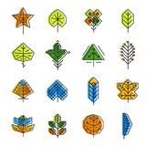 Leaf icon set in line style Stock Photography