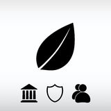 Leaf icon, vector illustration. Flat design style Royalty Free Stock Images