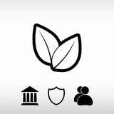 Leaf icon, vector illustration. Flat design style Stock Image