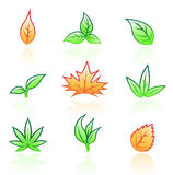 Leaf icons Stock Images