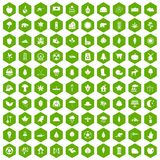 100 leaf icons hexagon green. 100 leaf icons set in green hexagon isolated vector illustration Stock Illustration