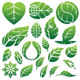 Leaf icons logo and design elements Stock Image