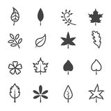 Leaf icons. Mono vector symbols Stock Illustration
