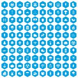 100 leaf icons set blue. 100 leaf icons set in blue hexagon isolated vector illustration Stock Images