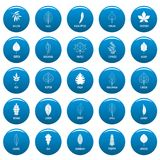 Leaf vector icons set blue, simple style. Leaf icons set blue. Simple illustration of 25 leaf vector icons for web Stock Image
