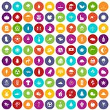 100 leaf icons set color. 100 leaf icons set in different colors circle isolated vector illustration Royalty Free Illustration