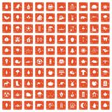 100 leaf icons set grunge orange. 100 leaf icons set in grunge style orange color isolated on white background vector illustration Stock Illustration