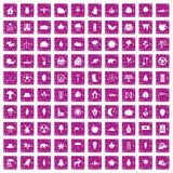 100 leaf icons set grunge pink. 100 leaf icons set in grunge style pink color isolated on white background vector illustration Royalty Free Illustration