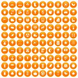 100 leaf icons set orange. 100 leaf icons set in orange circle isolated on white vector illustration Stock Illustration