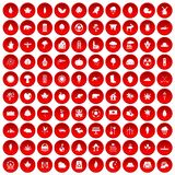 100 leaf icons set red. 100 leaf icons set in red circle isolated on white vector illustration Stock Illustration