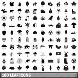 100 leaf icons set, simple style Stock Photos