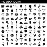 100 leaf icons set, simple style. 100 leaf icons set in simple style for any design illustration stock illustration