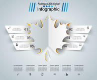 Leaf infographic on the grey background. Leaf six cut paper infographic. Abstract illustration Stock Images