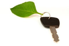 Leaf on key ring of eco friendly car Royalty Free Stock Photography