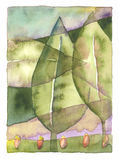 Leaf landscape. Original watercolor with fine paper texture. High quality scan Stock Photography