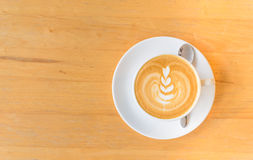 Leaf latte art in while cup Royalty Free Stock Images