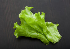 Leaf of lettuce on the wooden table Stock Photo