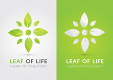 Leaf of life. A modern icon symbol of life by leaf. Green living Royalty Free Stock Photos