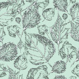 Leaf on a light blue background, seamless pattern Royalty Free Stock Photos
