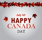 Leaf line Canada Day card in vector Royalty Free Stock Photo