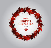 Leaf line Canada Day card in vector Royalty Free Stock Images