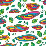 Leaf line colorful eye seamless pattern. This illustration is design abstract leaf line colorful with eyes decoration seamless pattern on white color background Royalty Free Stock Images