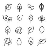 Leaf line icon set. Fertility and growth symbol, fresh natural beauty design element, youth and care. Vector line art illustration isolated on white background Royalty Free Stock Photos