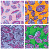 Leaf line purple set seamless pattern Royalty Free Stock Photography