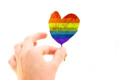 Leaf of Love. Heart shaped leaf painted in rainbow colours Royalty Free Stock Photos