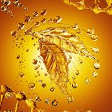 Leaf made of oil splash on gold background. 3d rendering Royalty Free Stock Photo