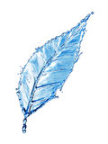 Leaf made of water splash Royalty Free Stock Photos