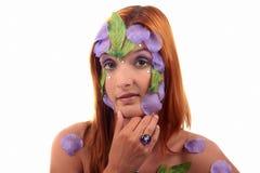 Leaf make-up girl vintage ring Royalty Free Stock Photo