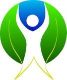 Leaf man logo. Illustration of leaf man logo design isolated on white background Stock Photos