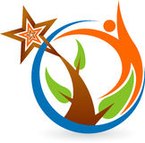 Leaf man logo. Illustration art of a leaf man logo with  background Royalty Free Stock Images