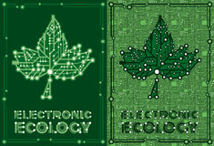 Leaf maple with computer and motherboard elements. Set two banners of green leaf maple with computer and motherboard elements for technology concept Royalty Free Illustration