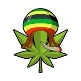 Leaf marijuana and reggae cap with dreadlocks. Green leaf cannab Royalty Free Stock Photography