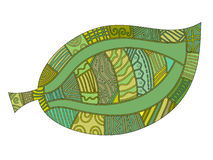 Leaf med den olika gröna modellen stock illustrationer