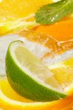 Leaf mint and cut citrus in ice Royalty Free Stock Images