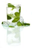 Leaf mint in ice vodka stock image