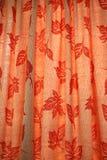Leaf Motifs. Vermilion curtains with leaf motifs Royalty Free Stock Photo