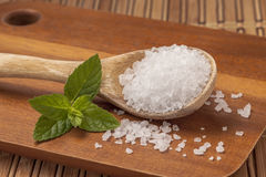 Leaf next to spoon of sea salt. Royalty Free Stock Images