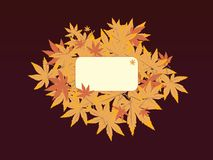 Leaf note brown. A autumn leaf design for a name tag Stock Photography