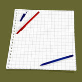 Leaf from a notebook into a cell. Vector background.  Two pens lie on a perforated sheet of paper Royalty Free Stock Photography