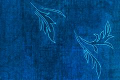 Leaf Outline. A leaf outline drawn on shabby blue paper Stock Photos