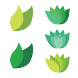 Leaf Pair Icon Vector Illustrations on Both Solid Royalty Free Stock Photos