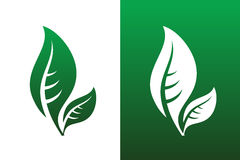 Leaf Pair Icon Vector Illustrations. On Both Solid and Reversed Background Royalty Free Stock Images