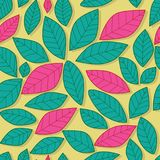 Leaf pastel pink and green color seamless pattern. This illustration is design and drawing full of page leaf colors pink and green in pastel yellow color Royalty Free Stock Photo