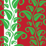 Leaf Pattern. Vector seamless pattern texture with many green leaves on the red background Royalty Free Stock Photos