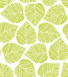 Leaf pattern. Seamless stylized green leaf pattern. Vector illustration