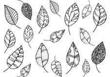 Leaf pattern in doodle style Royalty Free Stock Photo